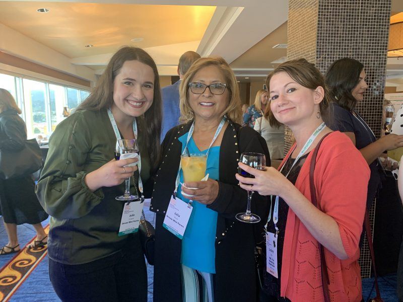 Julie Criswell and Julia Perez of Ocean Mist Farms and Lindsey Little of TMD at the Women's Fresh Perspectives Reception